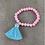 Baby Pink Beaded Bracelet with Tassel