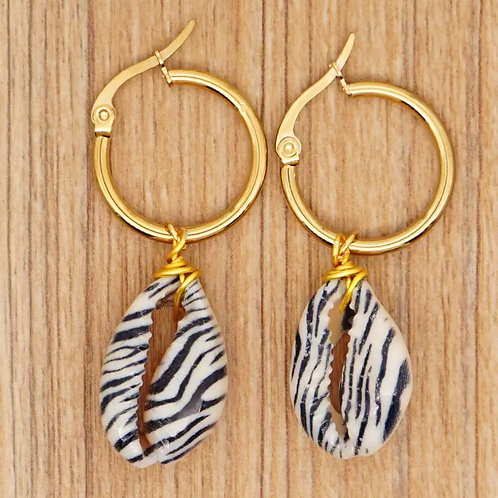 Zebra Print Cowrie Shell Hoop Earrings
