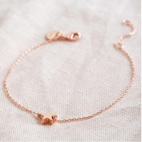 Single Star Bead Bracelet in Rose Gold