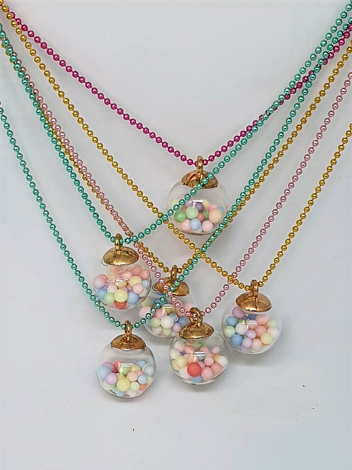 Pastel Pom Pom Bauble Necklace with Coloured Chain