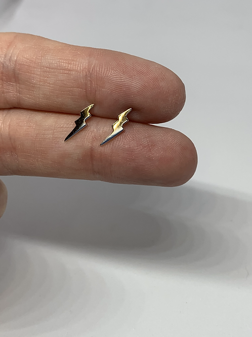 Sterling Silver Double Lightning Stud