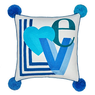 Love Embroidered Cushion Teal/Blues by Bombay Duck