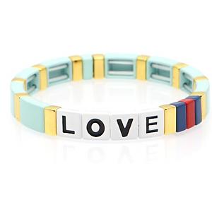 "Tile ""LOVE"" Bracelet in Mint"