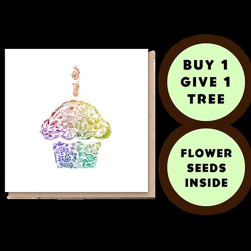 1 Tree Planted Card - Rainbow Cupcake