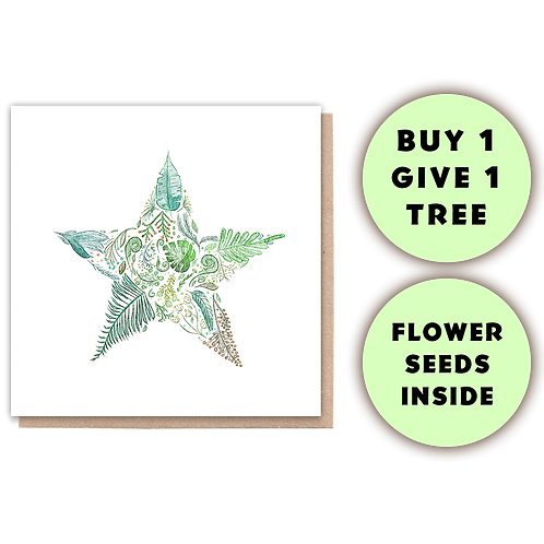 1 Tree Planted Card - Green Star