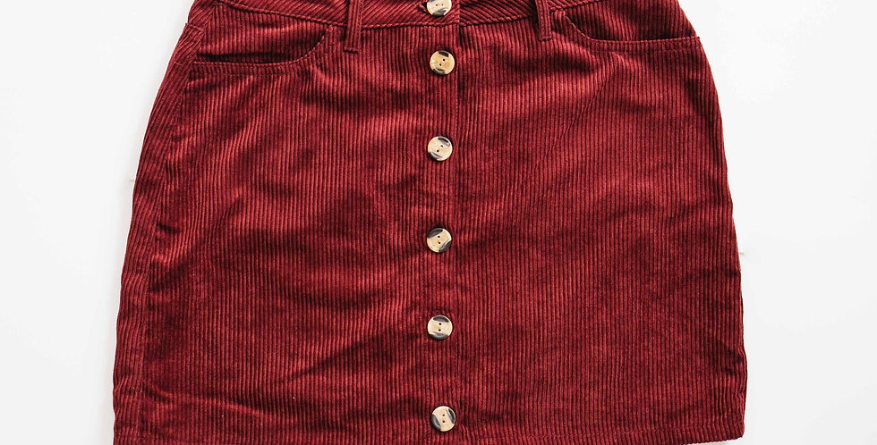 Burgundy Cord Button Front Skirt
