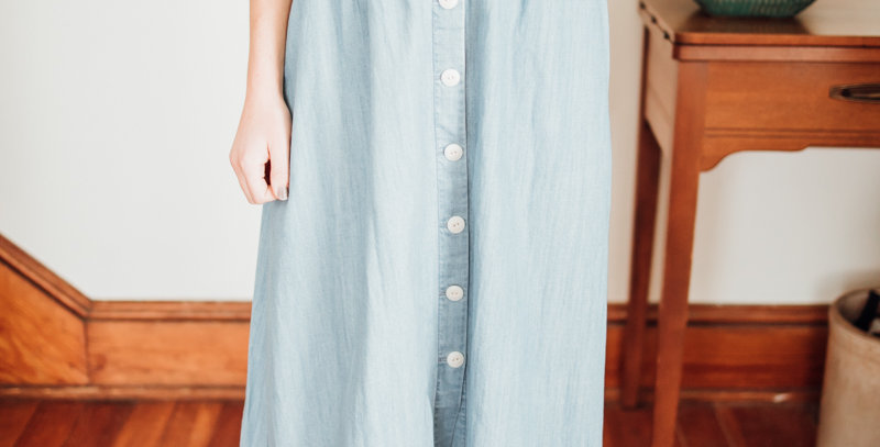 Blue Chambray Midi Skirt