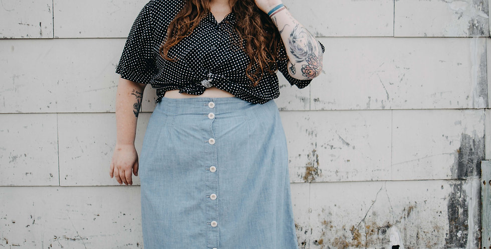 Madewell / Chambray Button Front Skirt