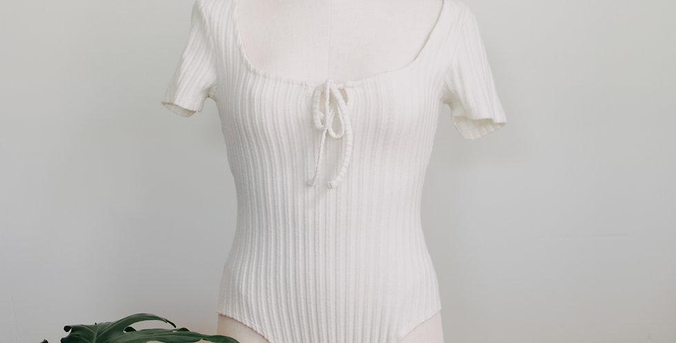 Ribbed White Bodysuit