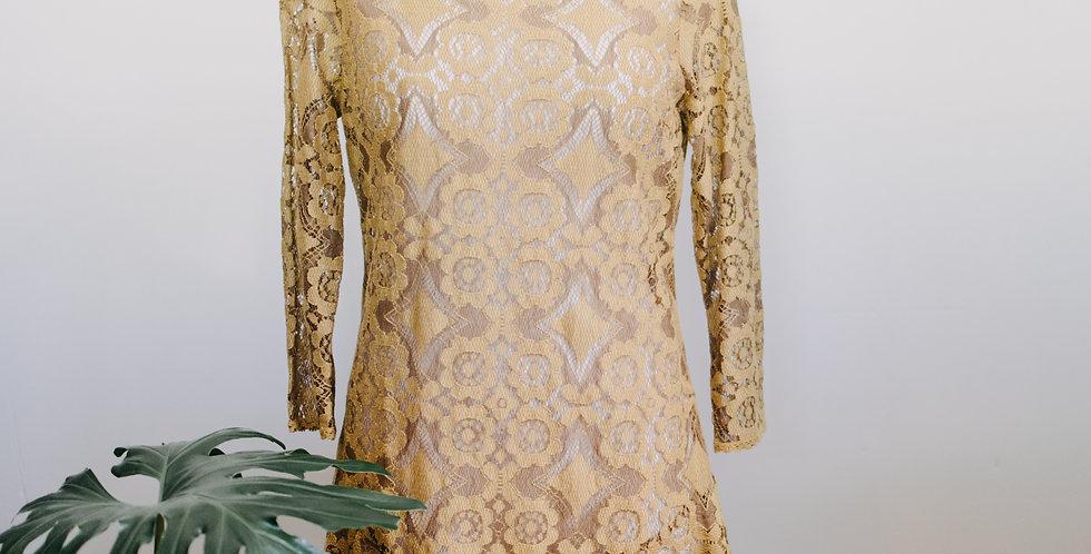 Free People Mustard Lace Mini Dress