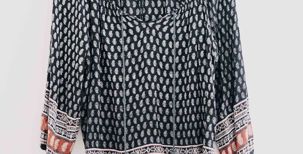 Black Paisley Peasant Top