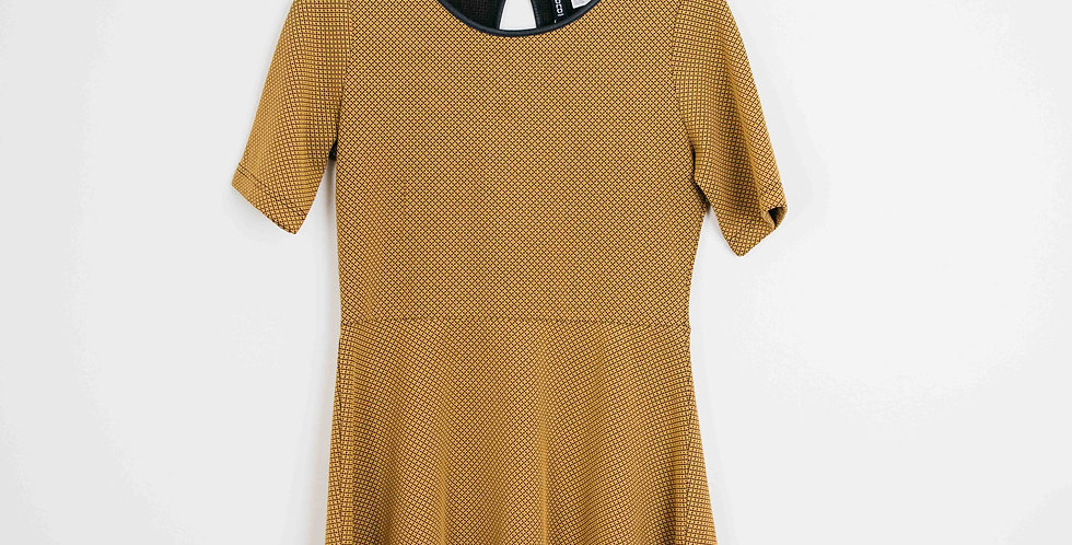 Yellow Skater Dress with Leather Detail