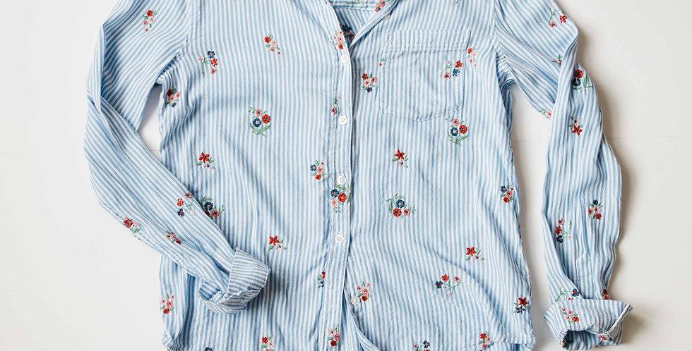 Stripe Floral Button Up