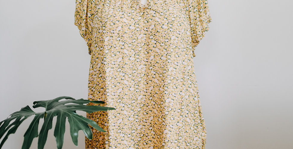 Yellow Floral Peasant Top