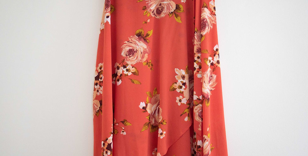 Peachy Pink Floral Skirt