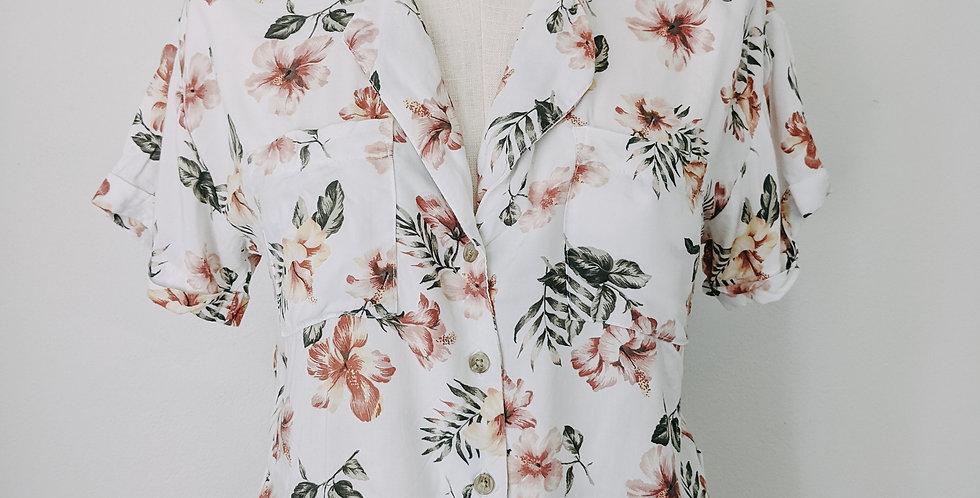 Floral Button + Tie Front Top
