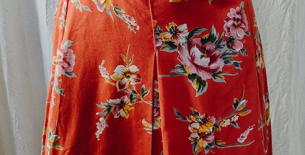 Orange Floral Skort