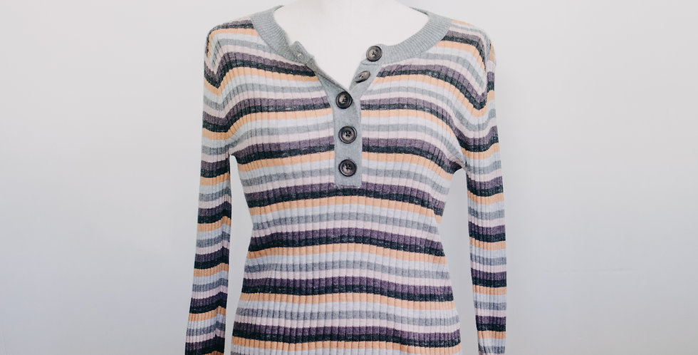 Striped Ribbed Henley Sweater