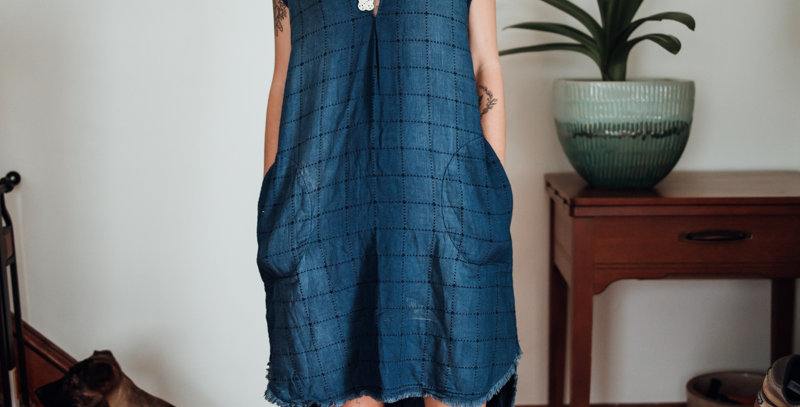 Chambray Grid Pattern Dress