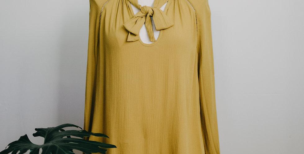 Yellow Tie Neck Blouse