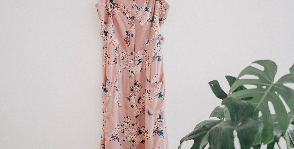 Pink Floral Side Cut Dress