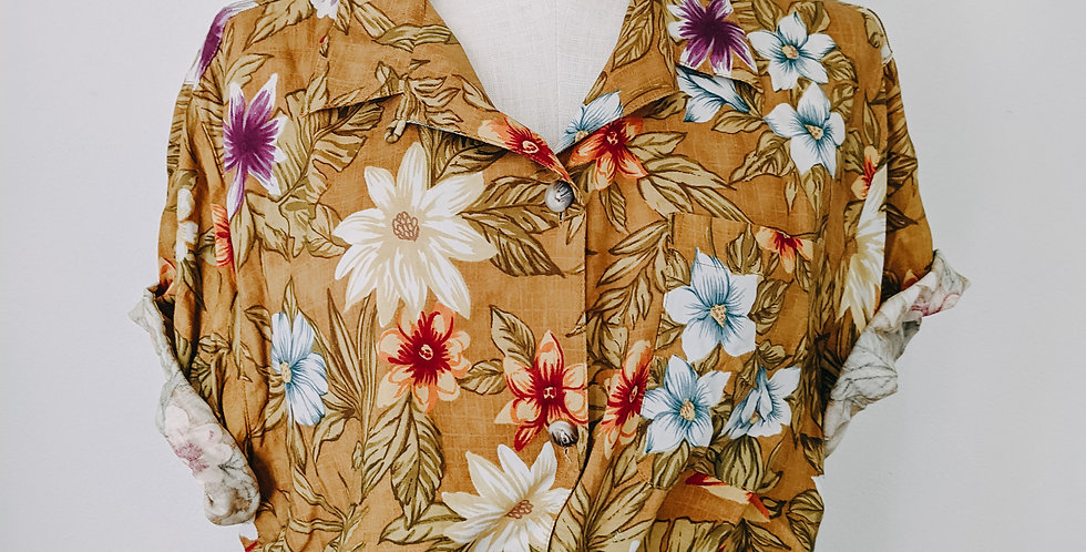 Mustard Floral Button Up