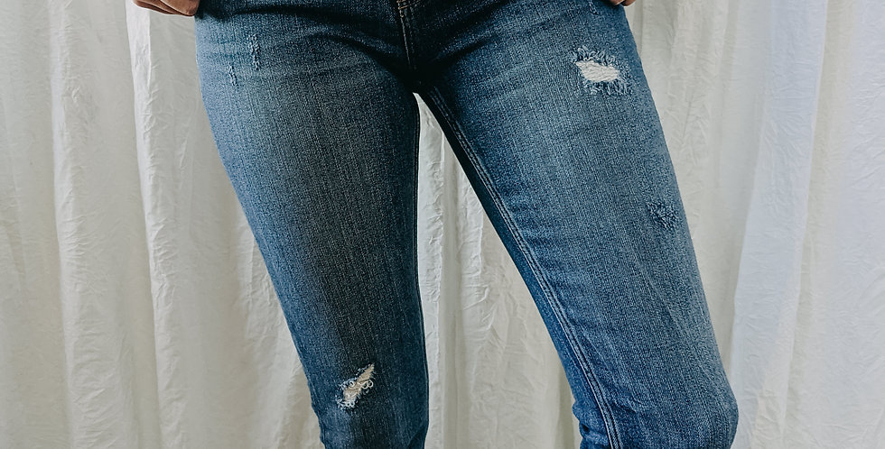 Mid Rise Distressed Jean