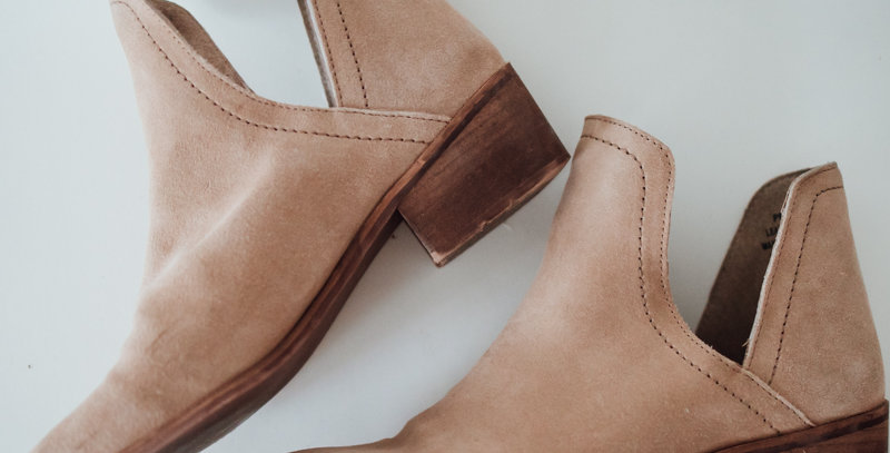 Tan Suede Cut Out Ankle Boot