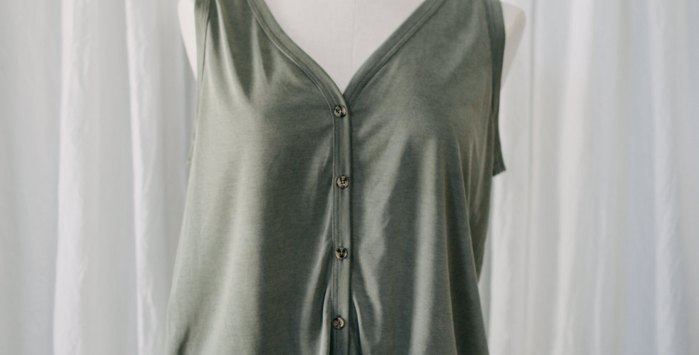 Green Button Front Tie Tank
