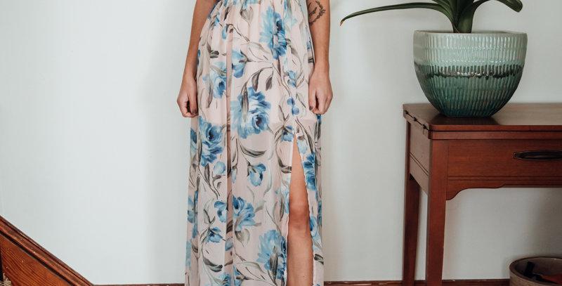 Pink + Blue Floral Maxi Dress