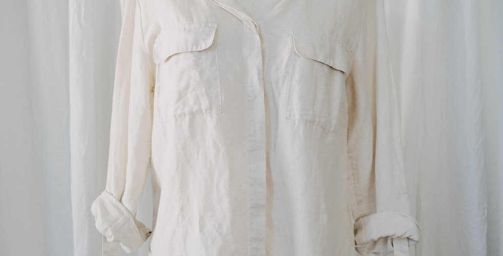 Linen Blend Button Up