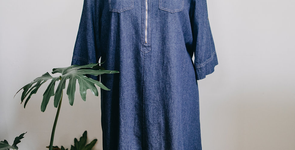 Zip Front Chambray Dress