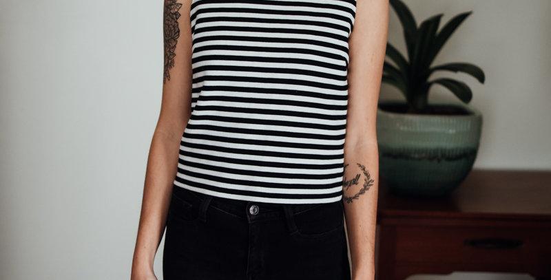 Zip Back Stripe Top