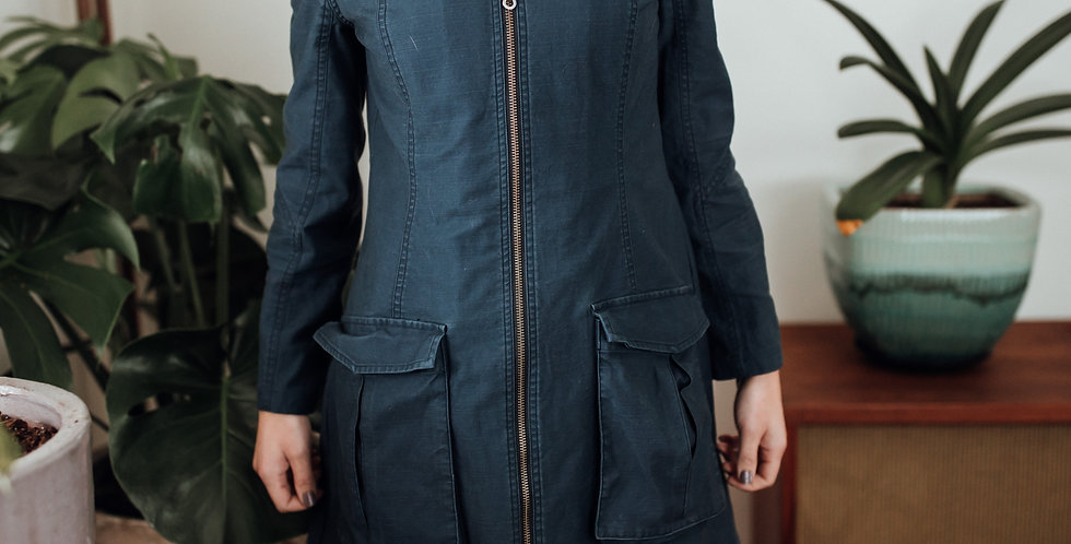 Blue Cinch Waist Cargo Coat
