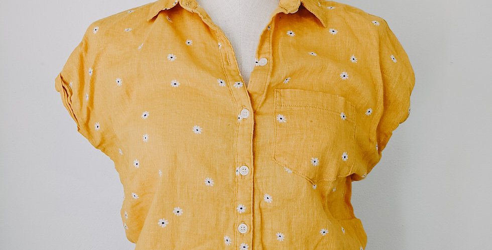 Yellow Daisy Tie Front Top