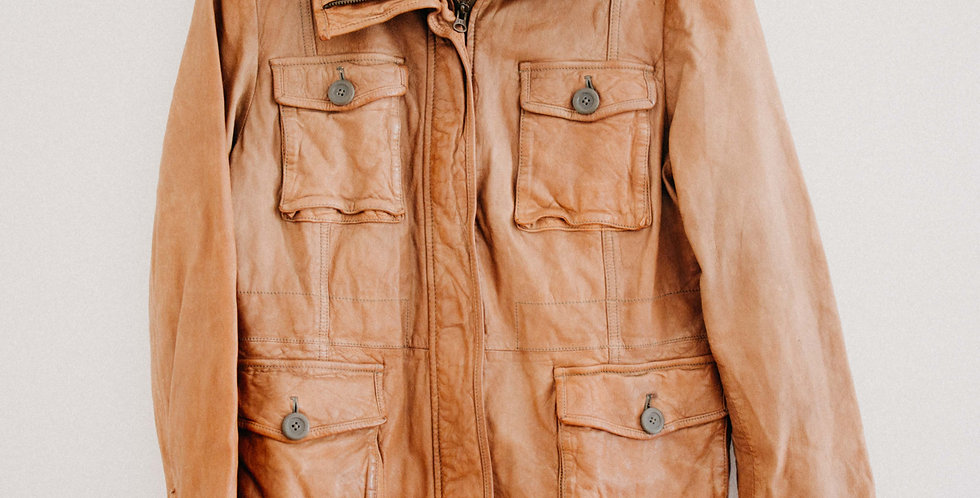 Vintage Leather Cargo Jacket