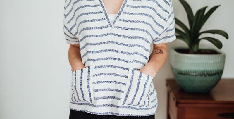 Stripe V-Neck Pocketfront Top