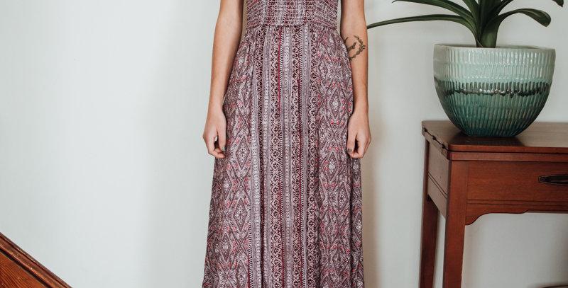 Patterned Racerback Maxi Dress