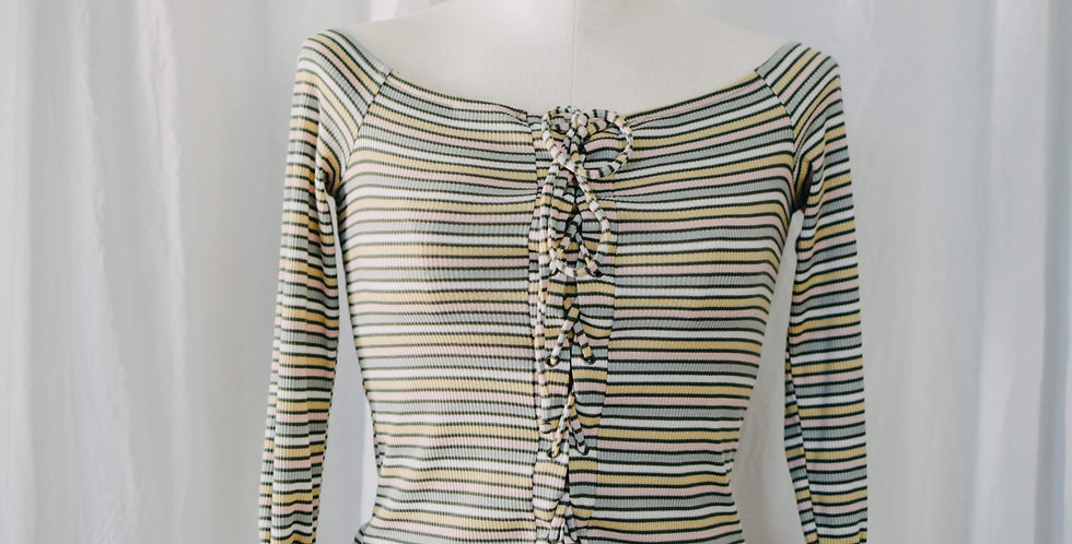 Stripe Lace Front Long Sleeve