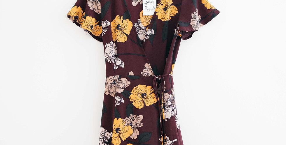 Burgundy Floral Wrap Dress