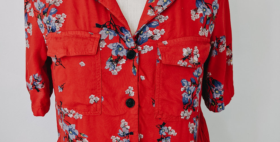 Red Floral Button Up