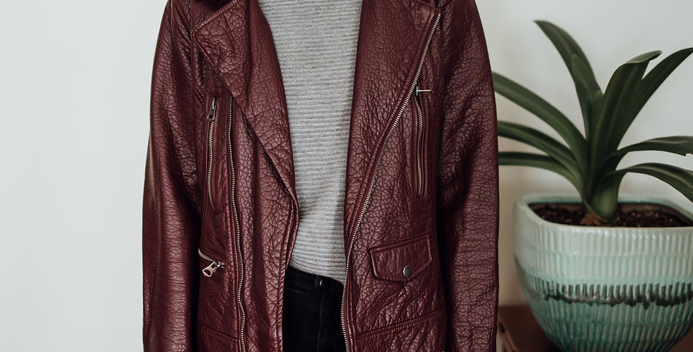 Burgundy Vegan Leather Jacket