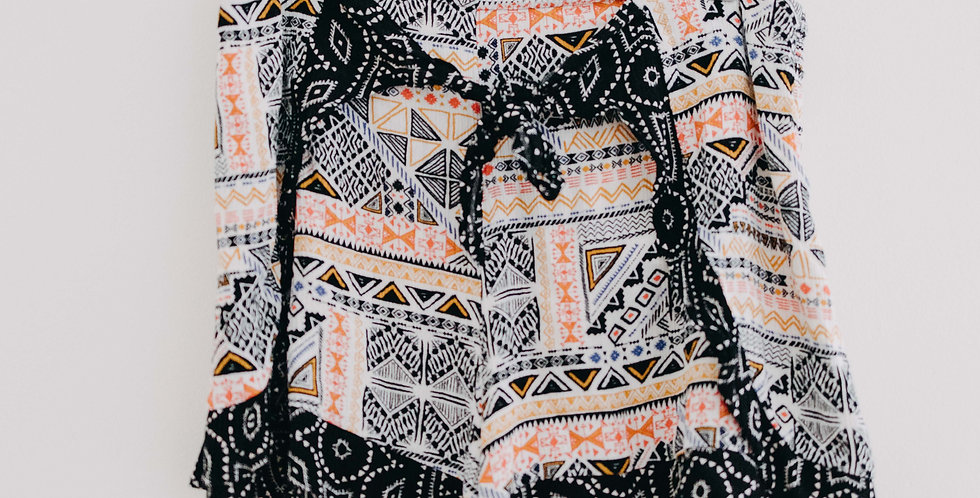 Pattern Tie Front Soft Shorts