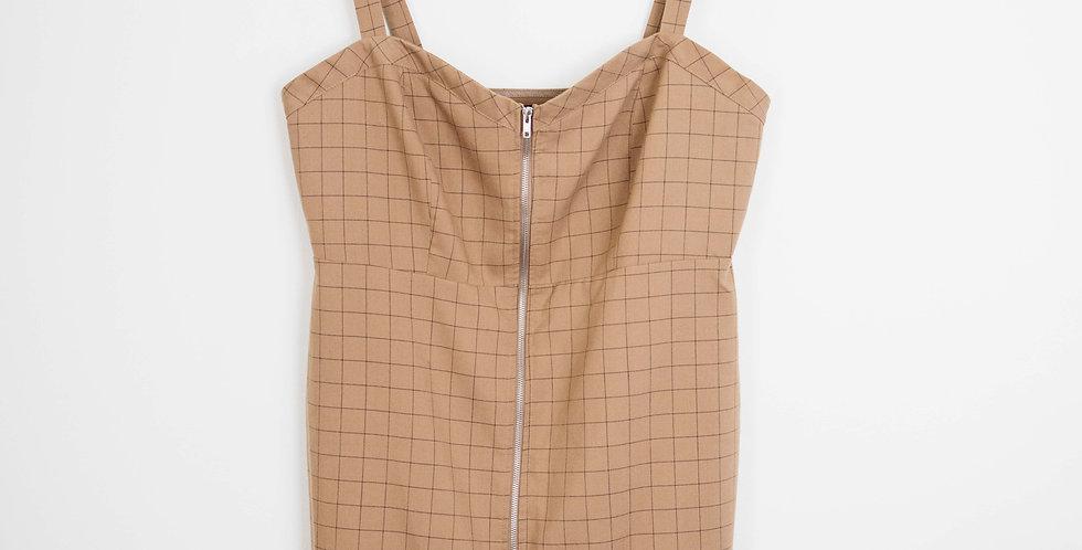 Zip Front Grid Mini Dress