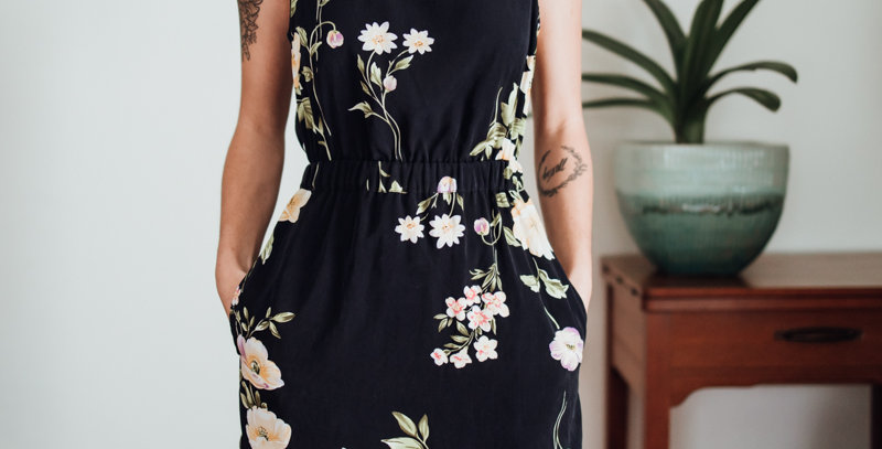 Navy Floral Mini Dress