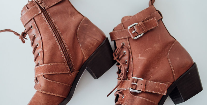 Brown Heeled Lace Up Buckle Boot
