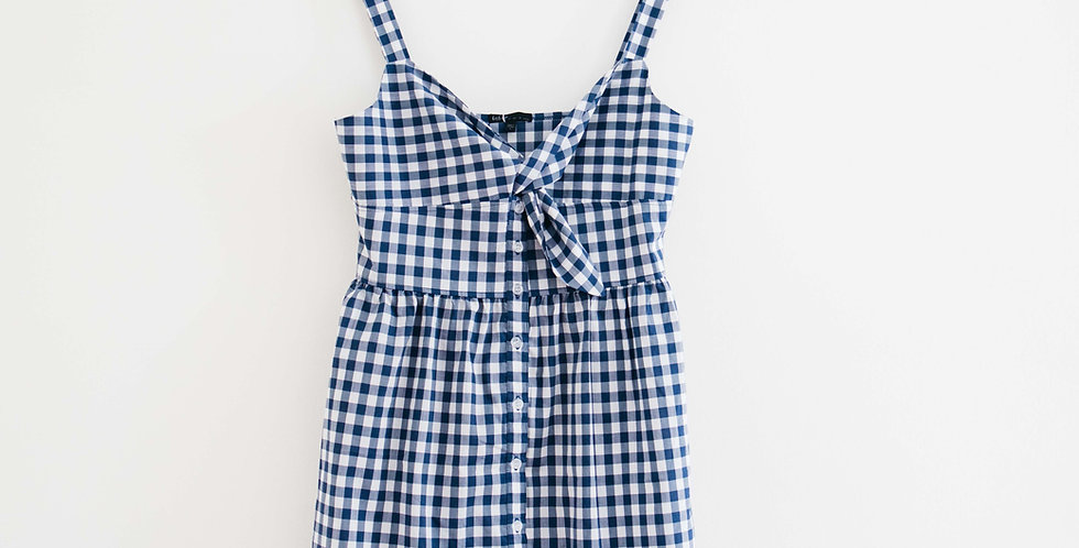 Tie Front Gingham Dress