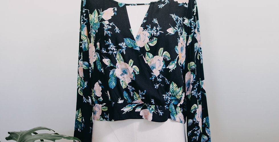Floral Cropped Bell Sleeve Top