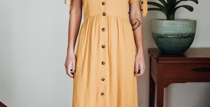 Yellow Button Front Midi Dress