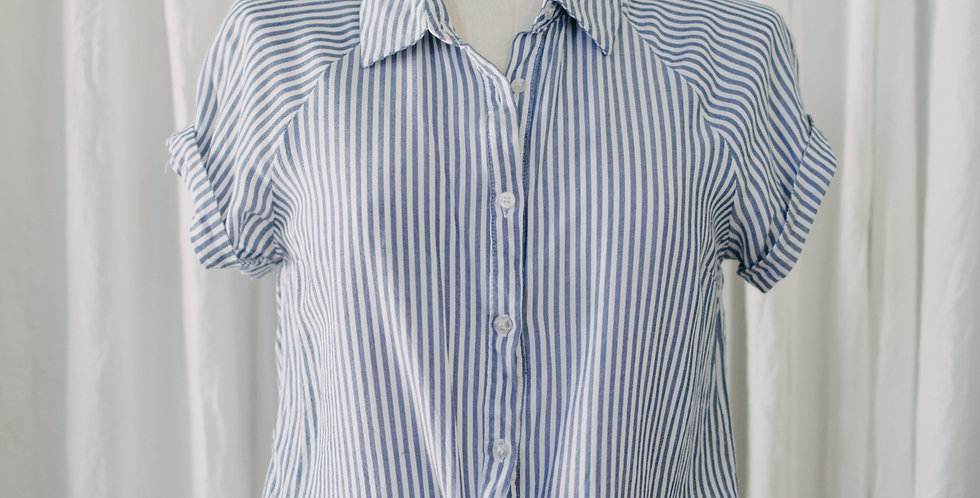 Pin Stripe Tie Front Top